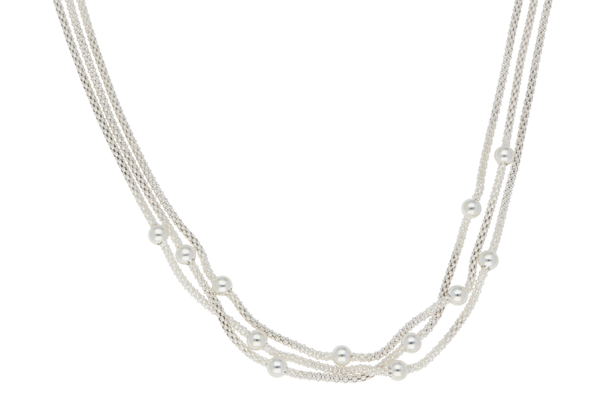 Bijuterii argint lant 3 randuri si bilute