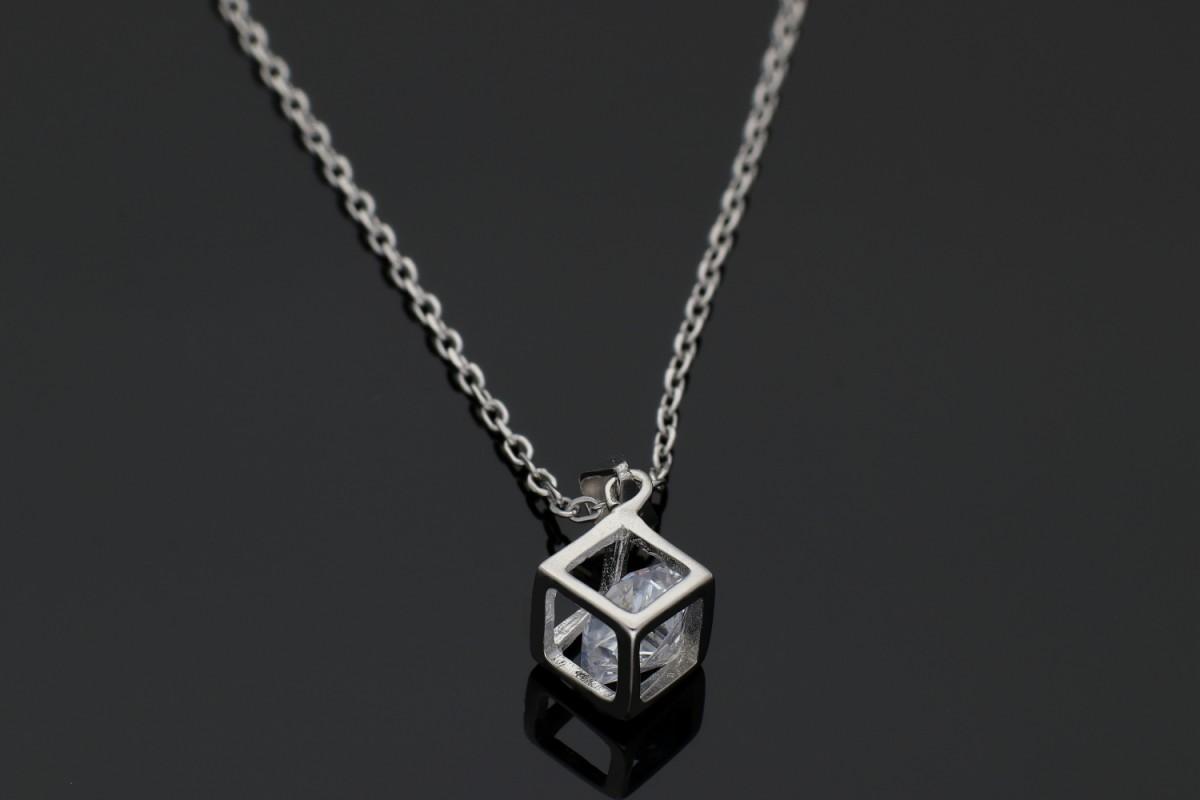 Bijuterii argint lant cu pandantiv cub 3D