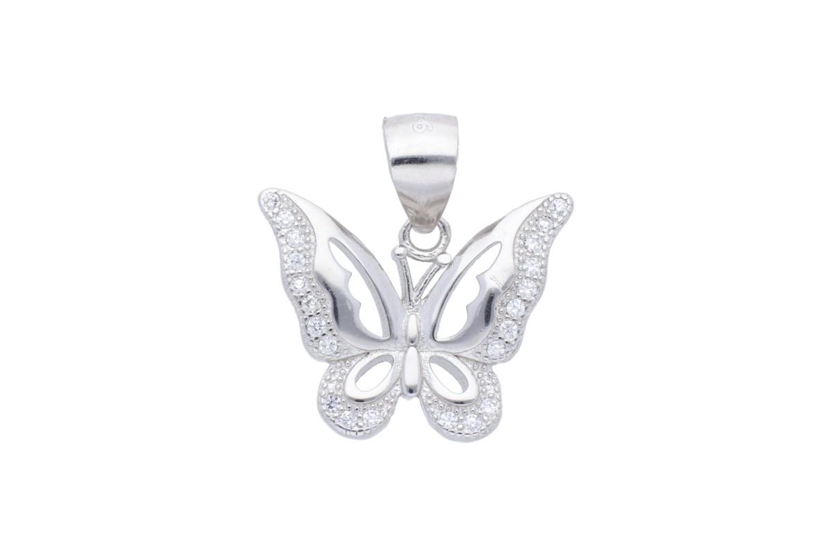 Bijuterii argint medalion fluturas cu zirconii