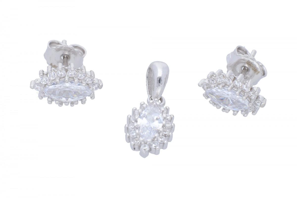Bijuterii argint set cercei cu pandantiv
