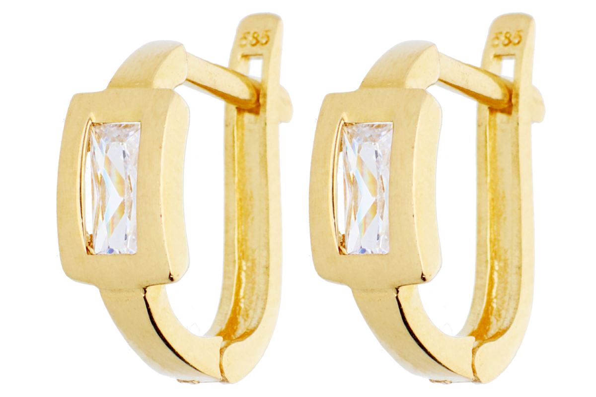 Bijuterii aur online - Cercei tortite aur 14K galben zirconii