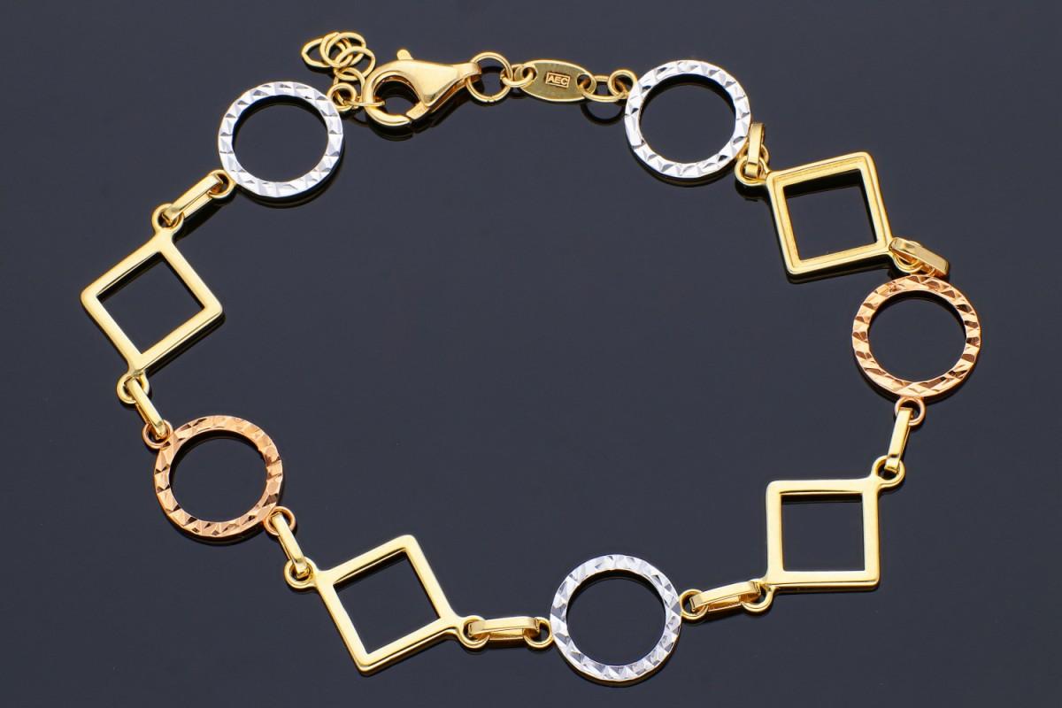 Bijuterii aur - Bratara mobila aur 14K galben, alb si roz figuri geometrice