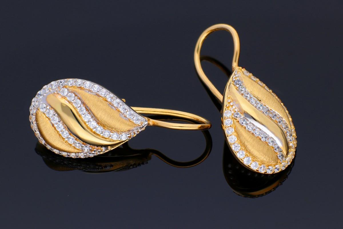 Bijuterii aur cercei aur 14K galben si alb