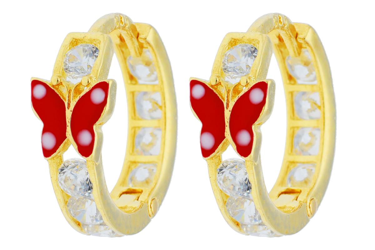 Bijuterii aur - Cercei copii aur 14K galben fluturas rosu si zirconii