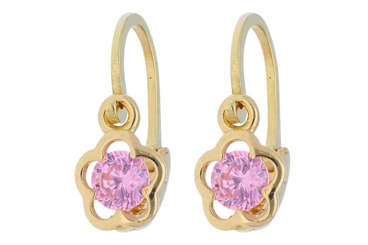 Bijuterii aur - Cercei copii aur 14K galben zirconia roz