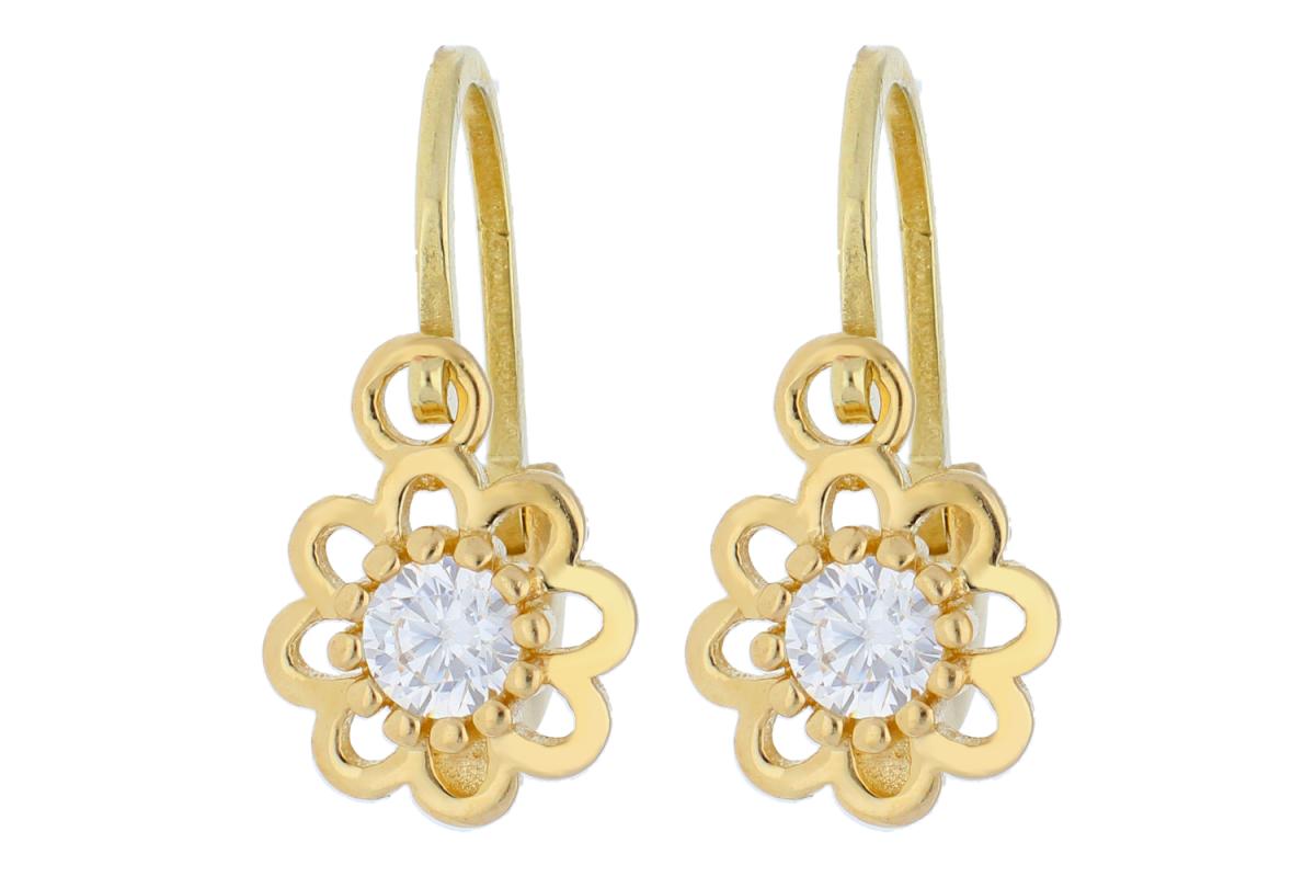 Bijuterii aur - Cercei copii din aur 14K galben floricica zirconia
