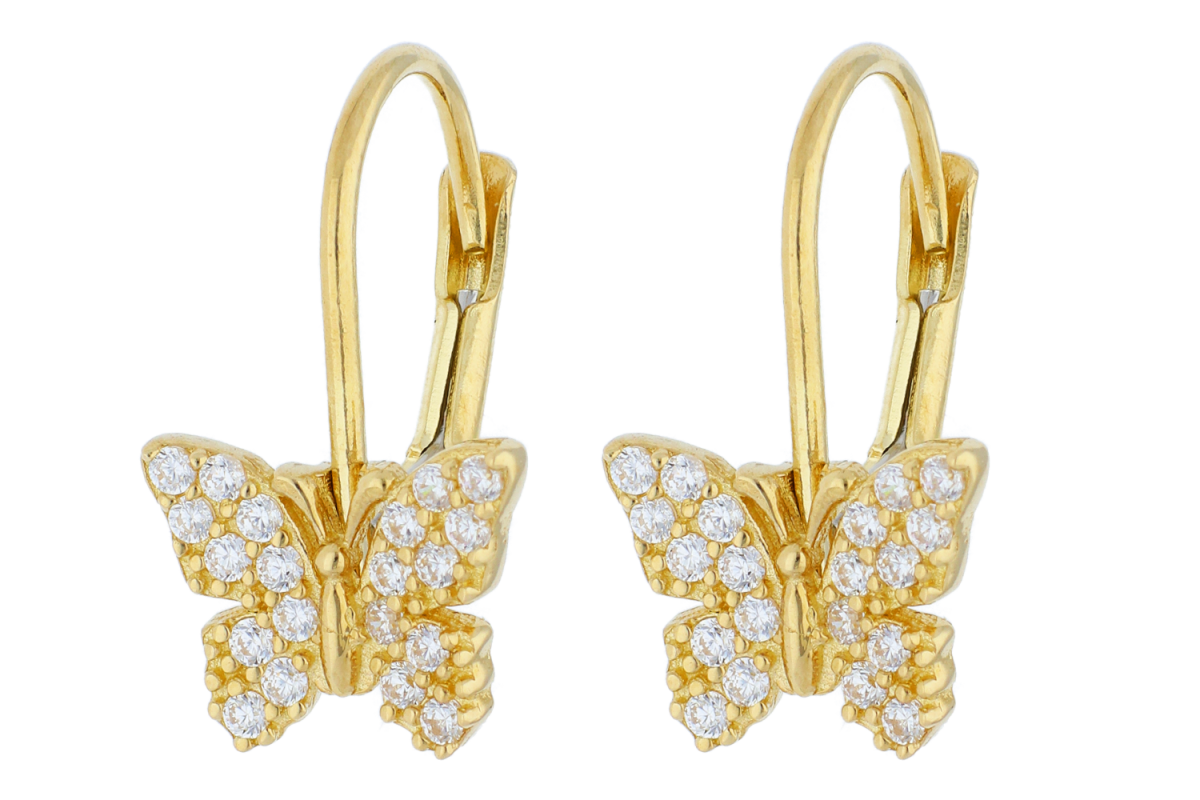 Bijuterii aur - Cercei copii din aur 14K galben fluturas zirconii