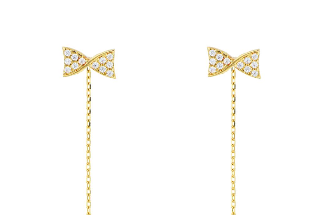 Bijuterii aur - Cercei cu lant aur 14K galben fundita cu zirconii