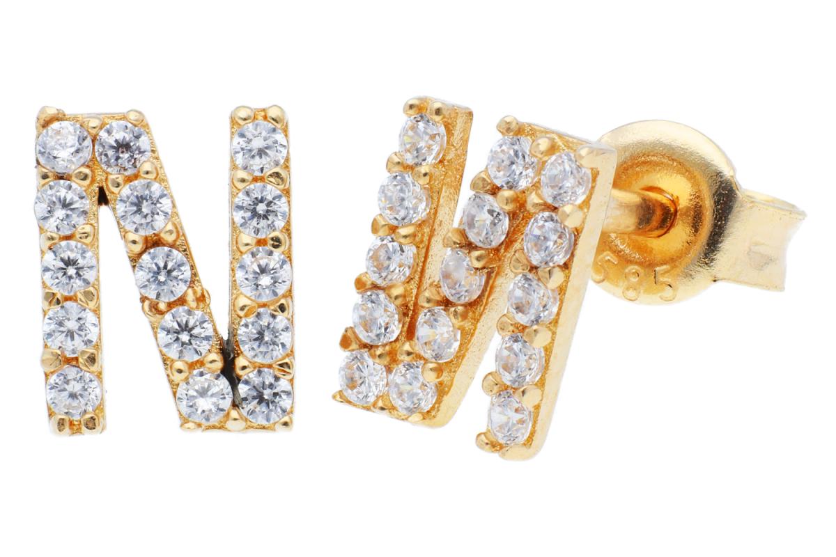 Bijuterii aur - Cercei cu surub dama aur 14K galben litera N zirconii