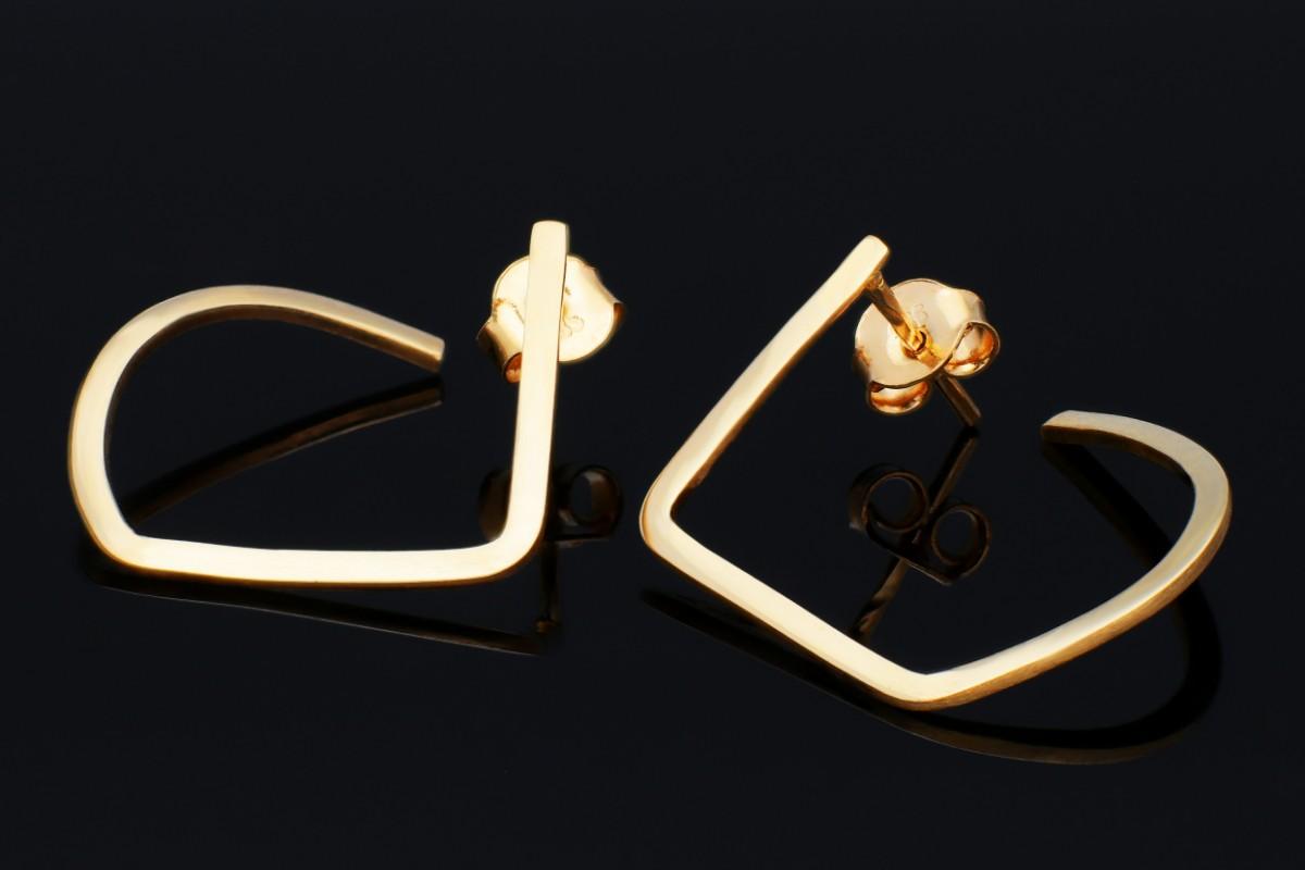 Bijuterii aur - Cercei cu surub dama din aur 14K galben geometry