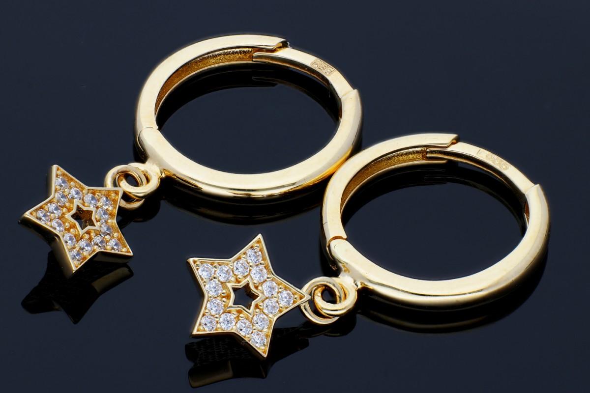Bijuterii aur - Cercei rotunzi aur 14K galben steluta zirconii