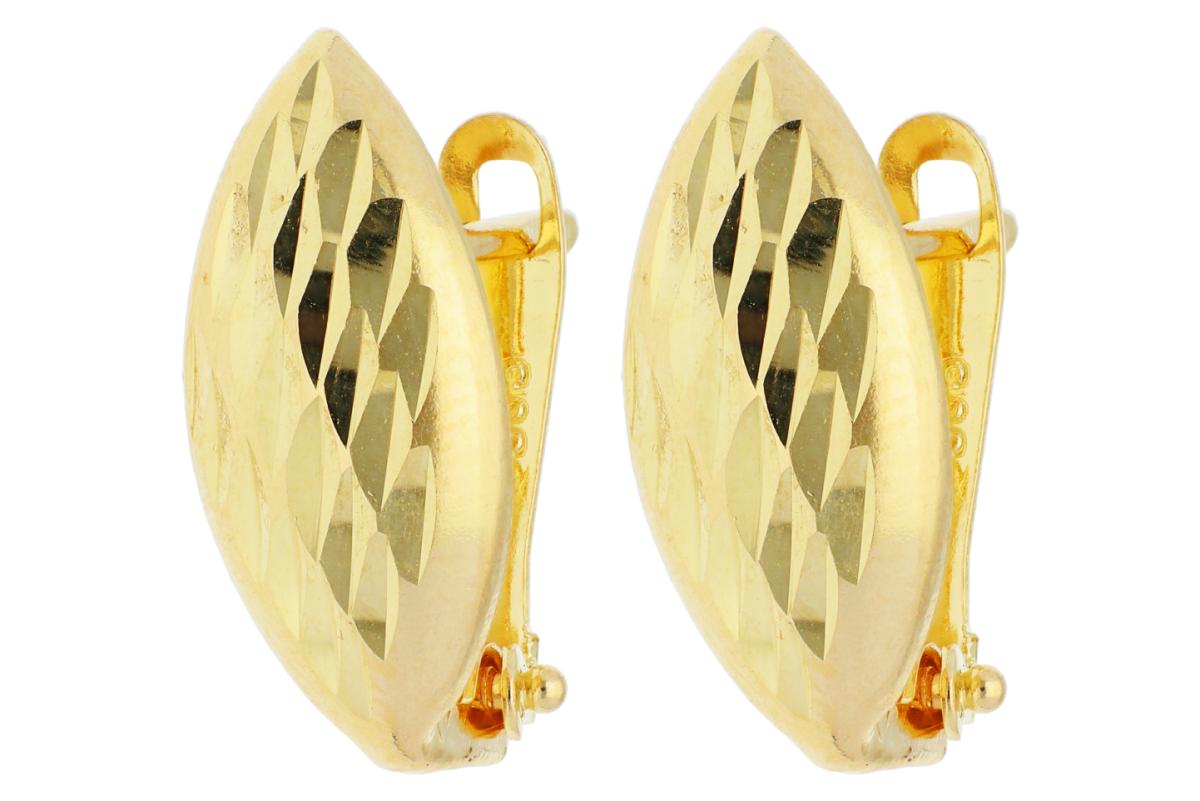 Bijuterii aur - Cercei tortite fatetati din aur 14K galben
