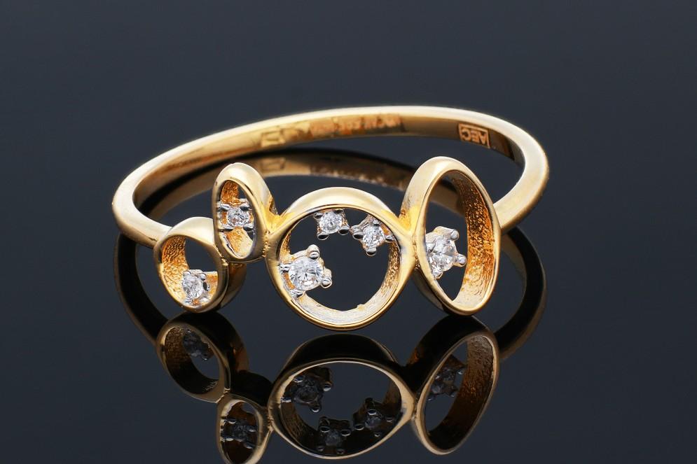 Bijuterii aur - Inel din aur 14K galben geometry