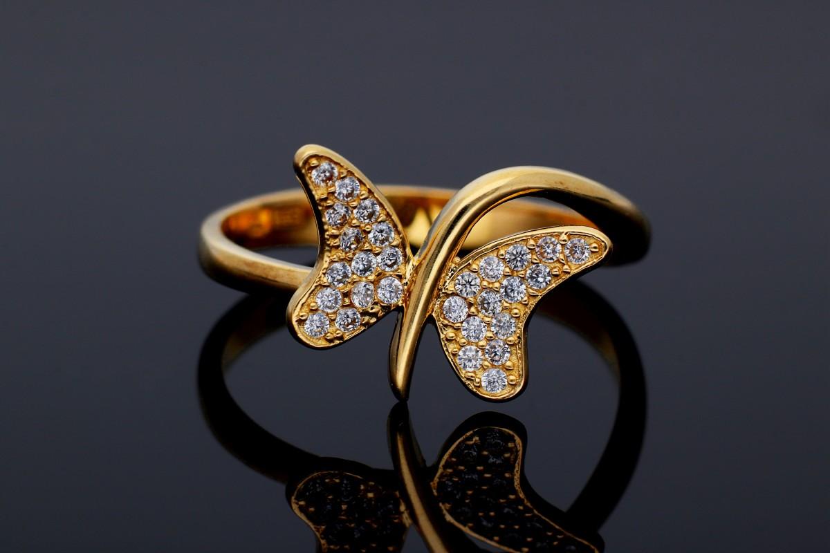 Inel dama aur 14K galben fluturas zirconii