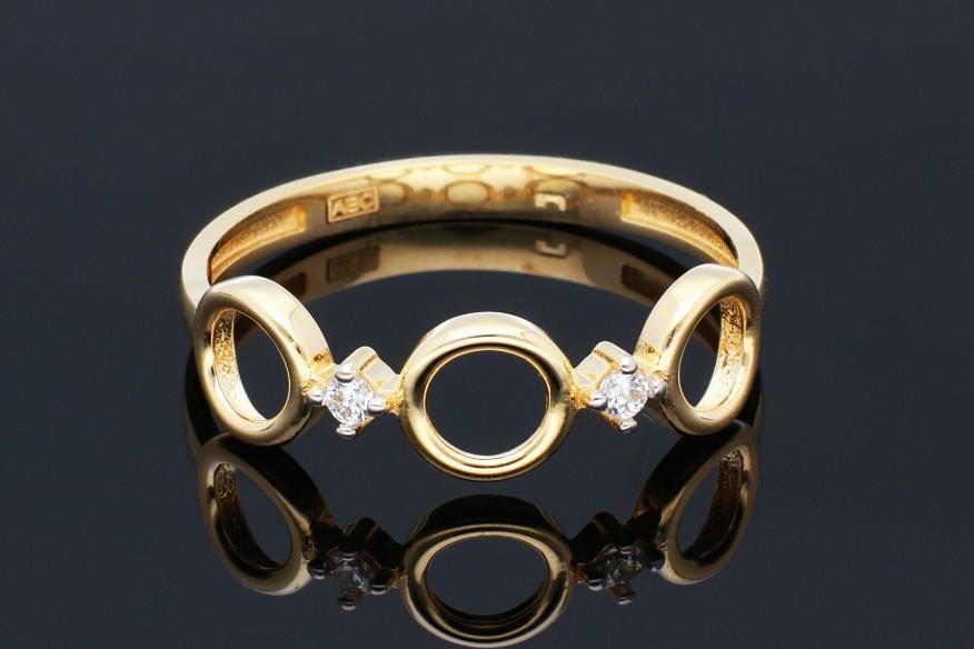 Bijuterii aur - Inele dama din aur 14K galben cerculete