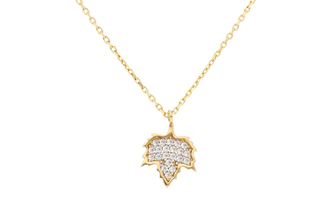Bijuterii aur - Lantisoare cu pandantiv aur 14K galben frunza cu zirconii
