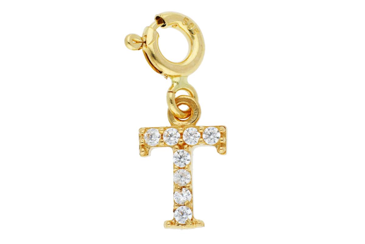 Bijuterii aur - Medalioane aur 14K galben litera T cu carabina