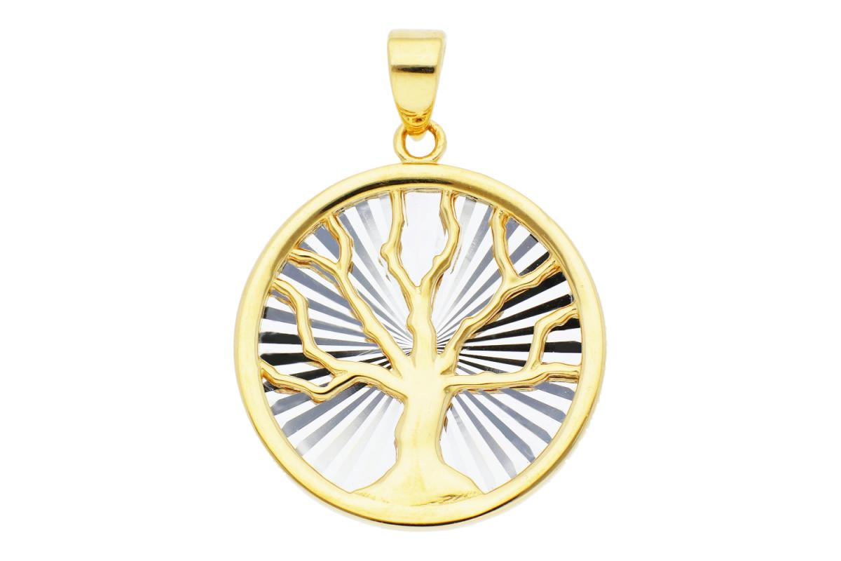 Bijuterii aur - Medalioane din aur 14K galben si alb Pomul Vietii