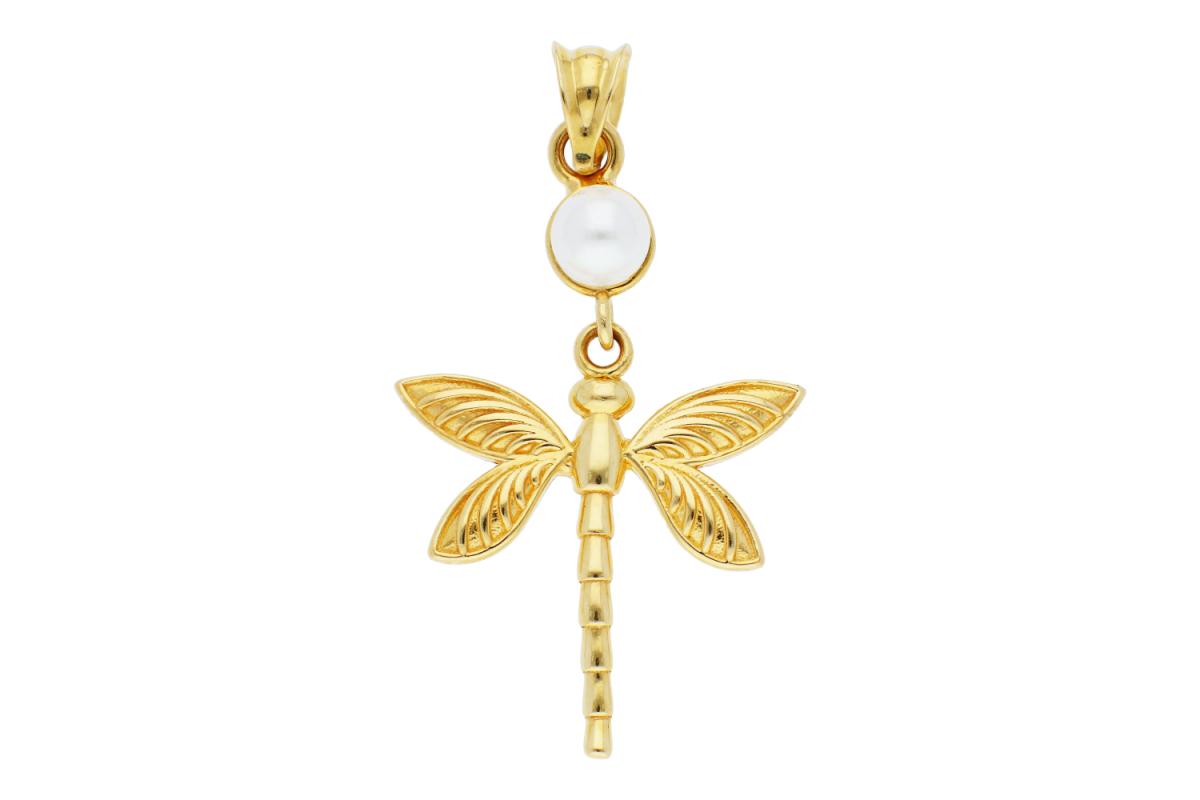 Bijuterii aur - Medalioane libelula si perluta aur 14K galben