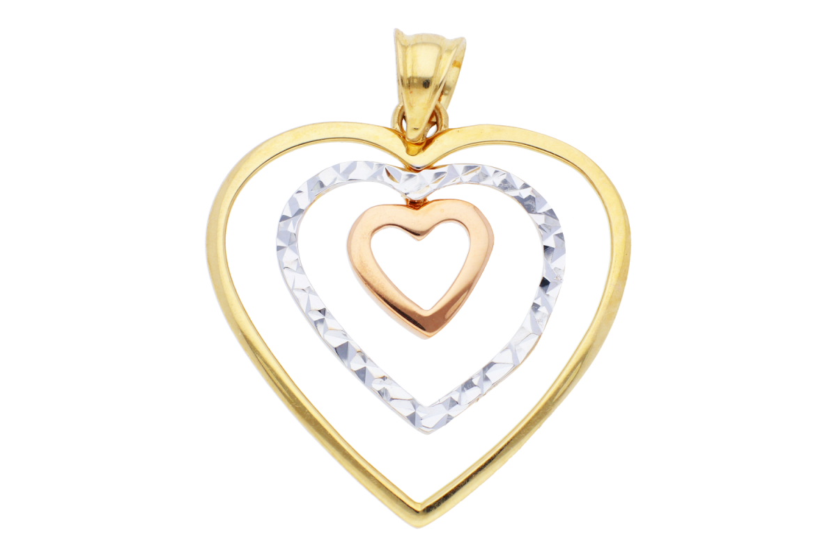 Bijuterii aur - Medalion din aur 14K galben, alb si roz inimioara