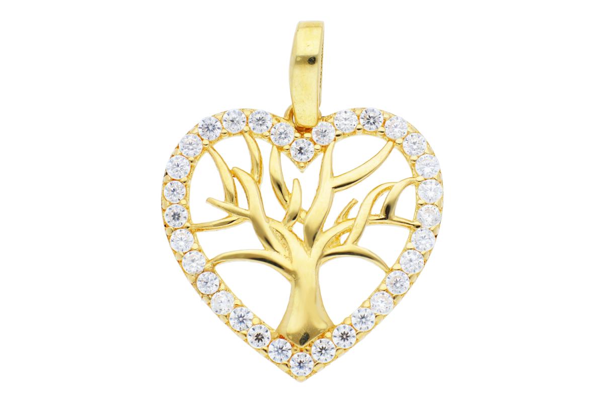 Bijuterii aur - Medalion din aur 14K galben pomul vietii zirconii albe