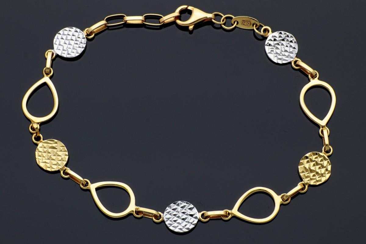 Bijuterii aur online - Bratara mobila aur 14K galben si alb fatetata