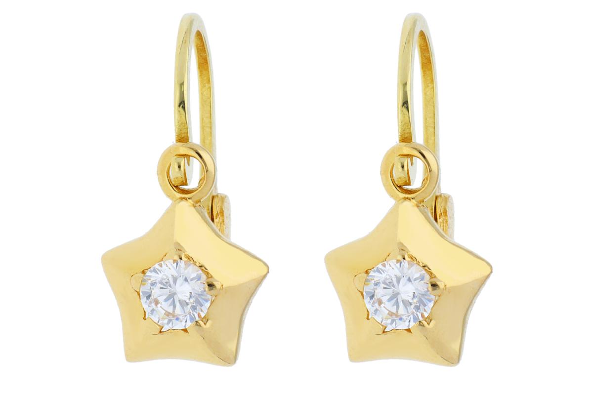 Bijuterii aur online - Cercei copii aur 14K galben steluta
