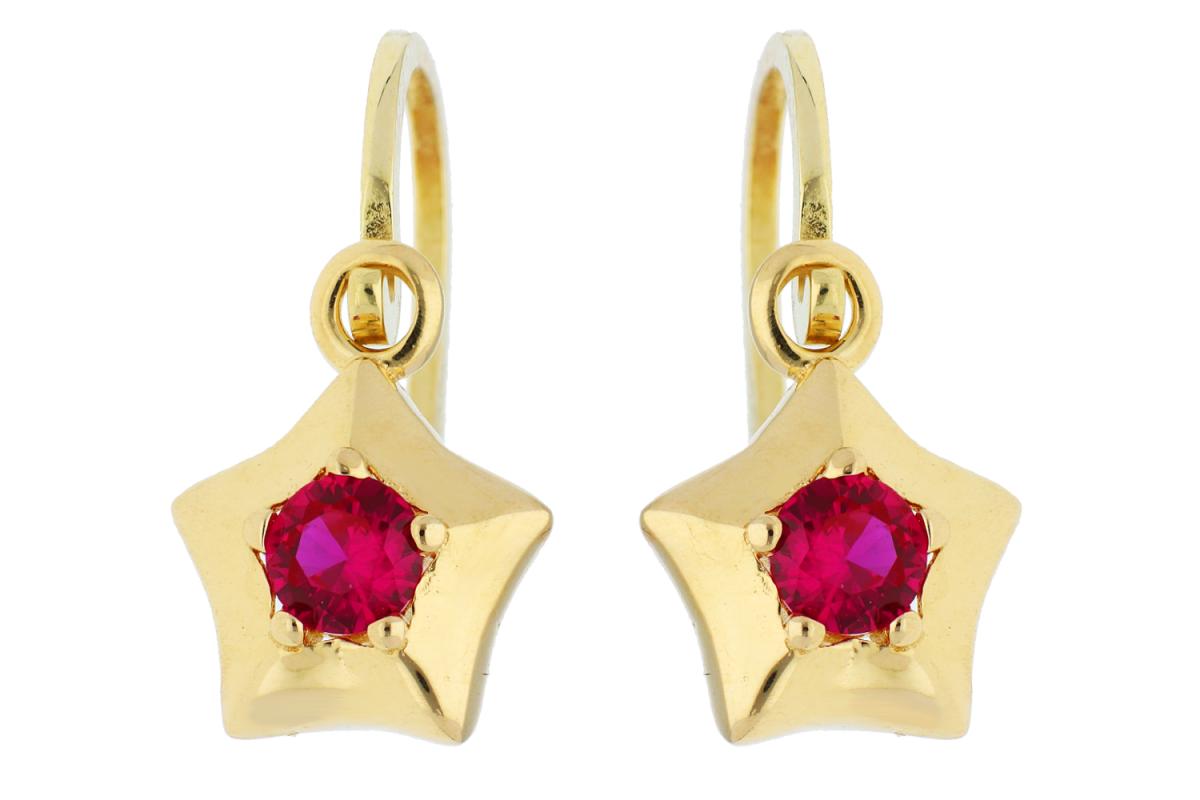 Bijuterii aur online - Cercei copii aur 14K galben steluta zirconia rubin