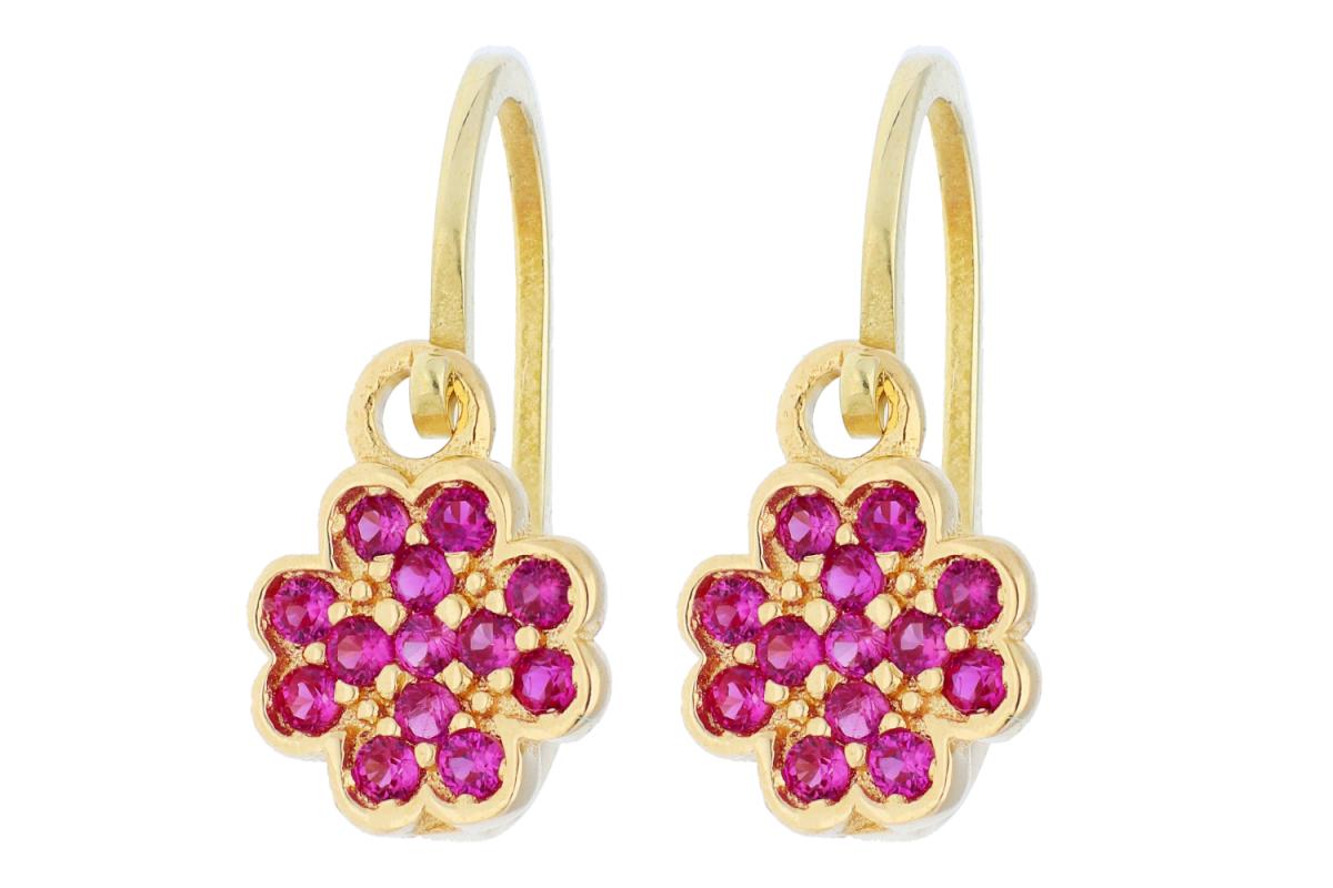Bijuterii aur online - Cercei copii aur 14K galben trifoi zirconia rubin