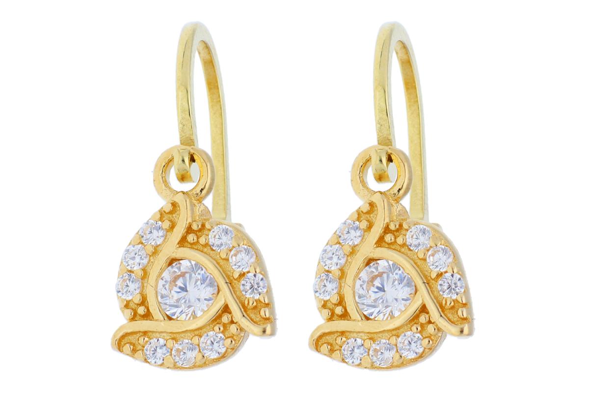Bijuterii aur online - Cercei copii aur 14K galben zirconii