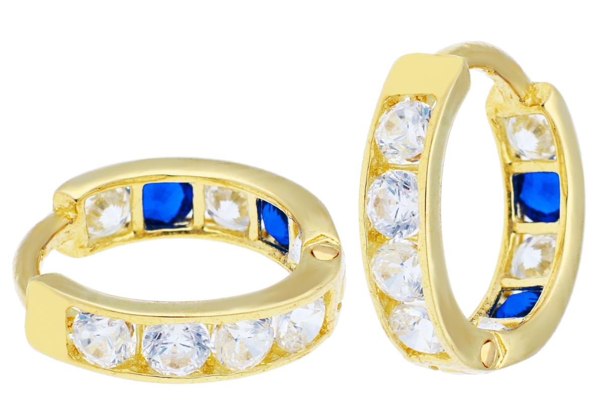 Bijuterii aur online - Cercei copii aur 14K galben zirconii safir