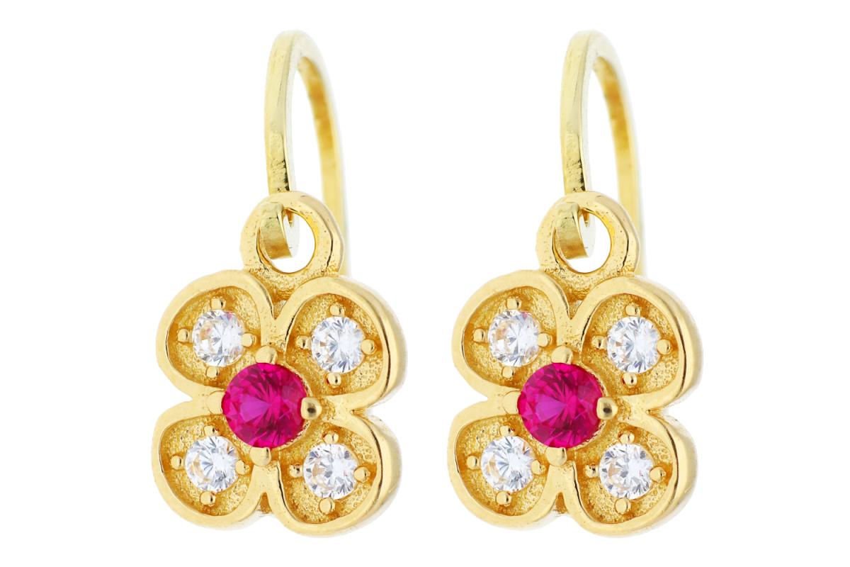 Bijuterii aur online - Cercei copii din aur 14K galben floricica zirconii