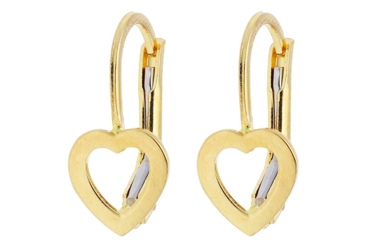 Bijuterii aur online - Cercei copii din aur 14K galben inimi
