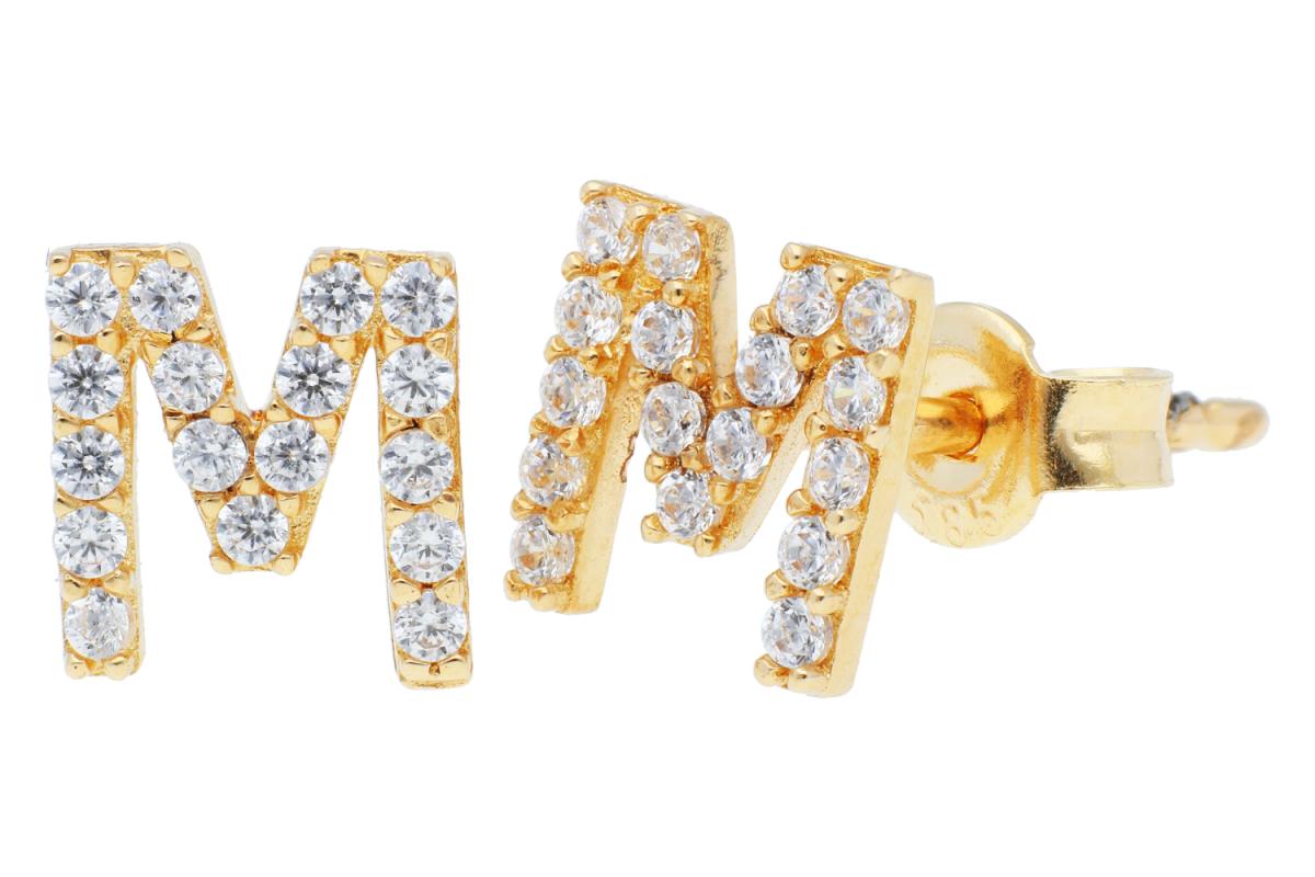Bijuterii aur online - Cercei cu surub dama din aur 14K galben litera M zirconii