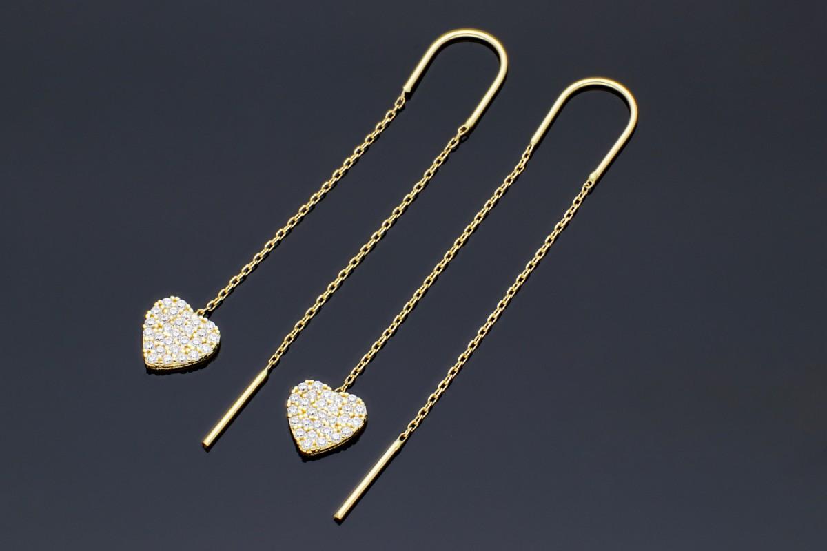 Bijuterii aur online - Cercei cu surub dama inimioara cu zirconii din aur 14K galben