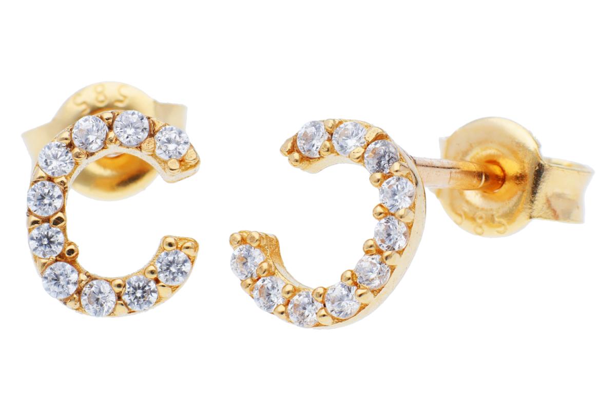 Bijuterii aur online - Cercei cu surub din aur 14K galben litera C zirconii