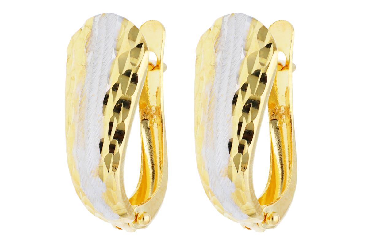 Bijuterii aur online - Cercei tortite dama din aur 14K galben si alb