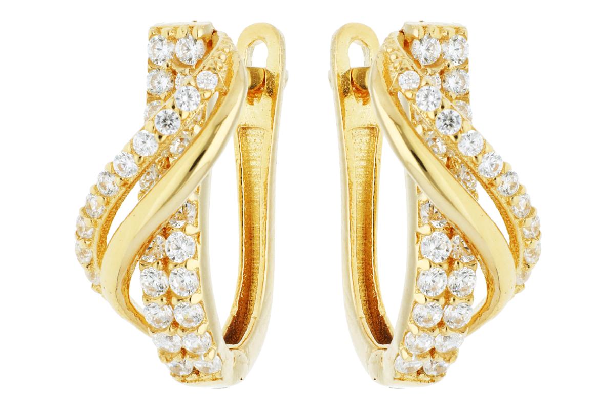 Bijuterii aur online - Cercei tortite dama zirconii din aur 14K galben