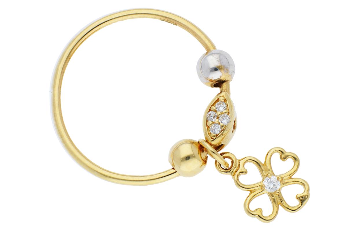 Bijuterii aur online - Inel cu charm din aur 14K galben si alb trifoi si zirconii