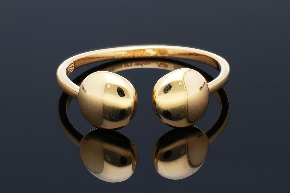 Bijuterii aur online - Inel dama din aur 14K galben cercuri usor reglabil