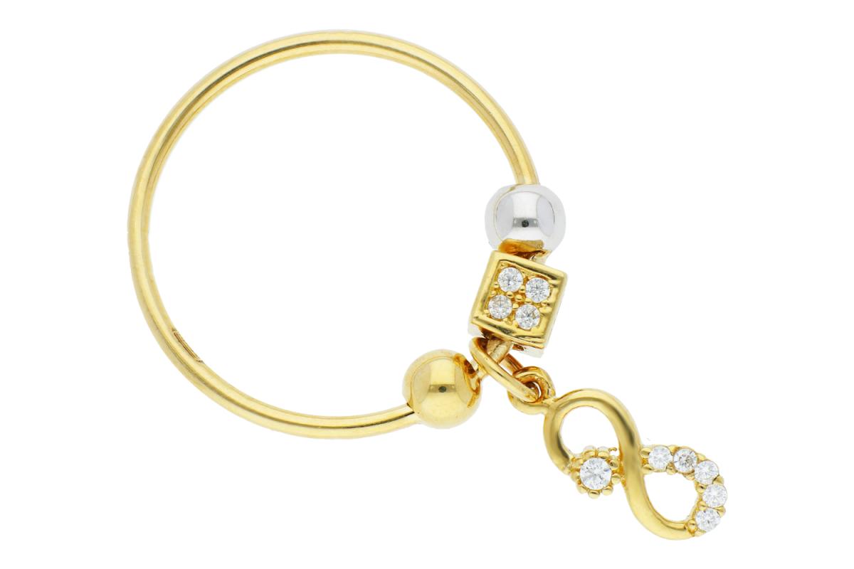 Bijuterii aur online - Inele cu charm din aur 14K galben si alb infinit zirconii