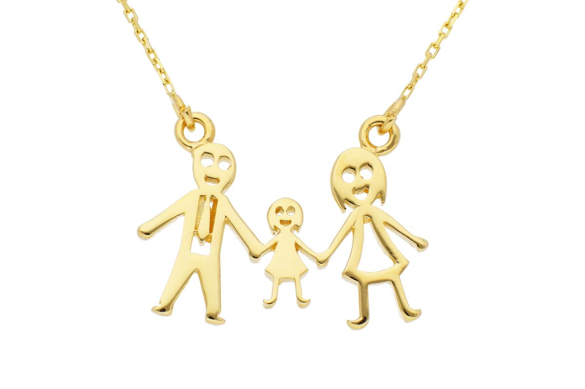 Bijuterii aur online - Lantisoare cu pandantiv dama din aur 14K galben familie