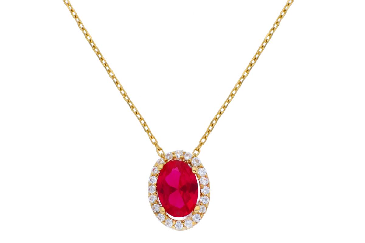 Bijuterii aur online - Lantisoare cu pandantiv dama din aur 14K galben zirconia rubin
