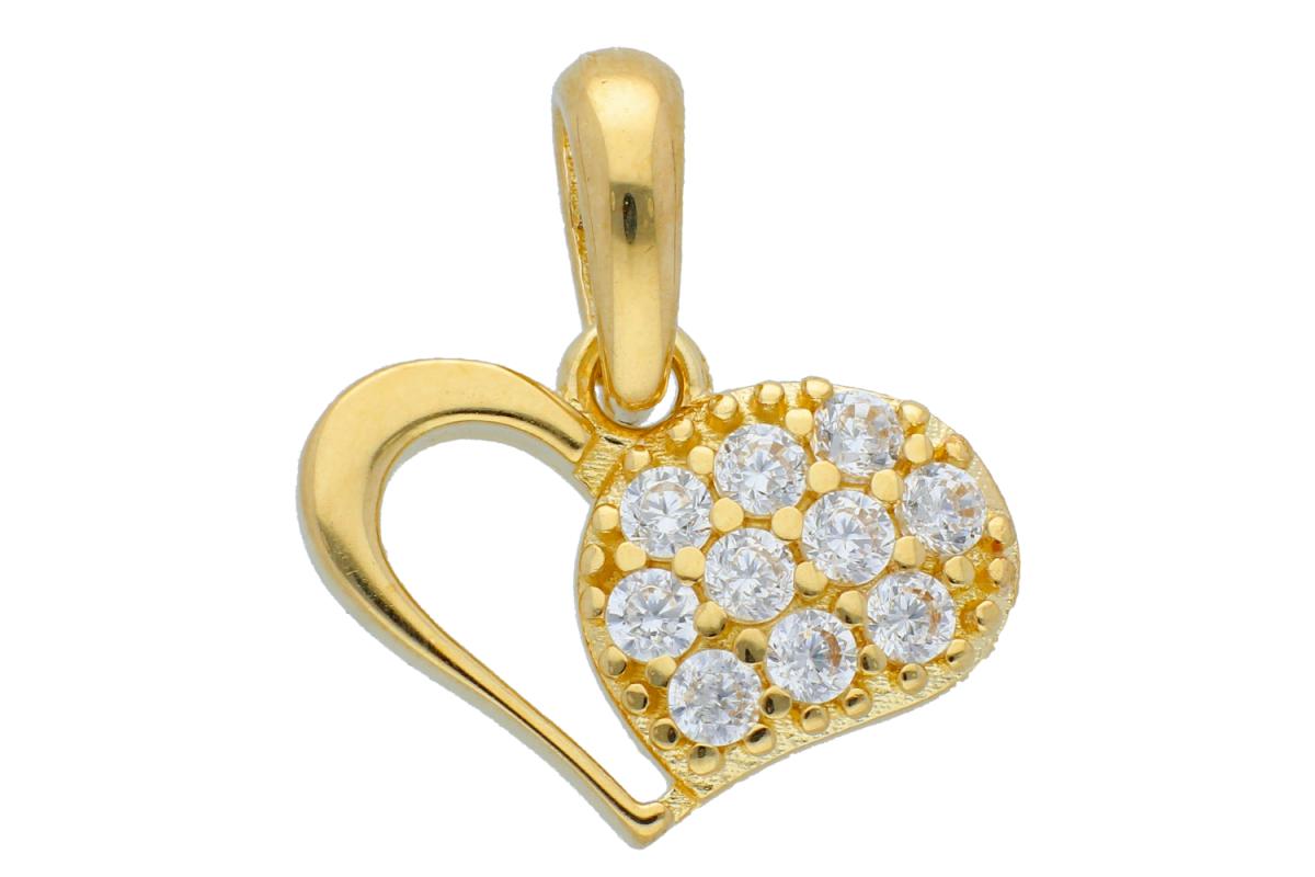 Bijuterii aur online - Medalioane aur 14K inimioara cu zirconii albe