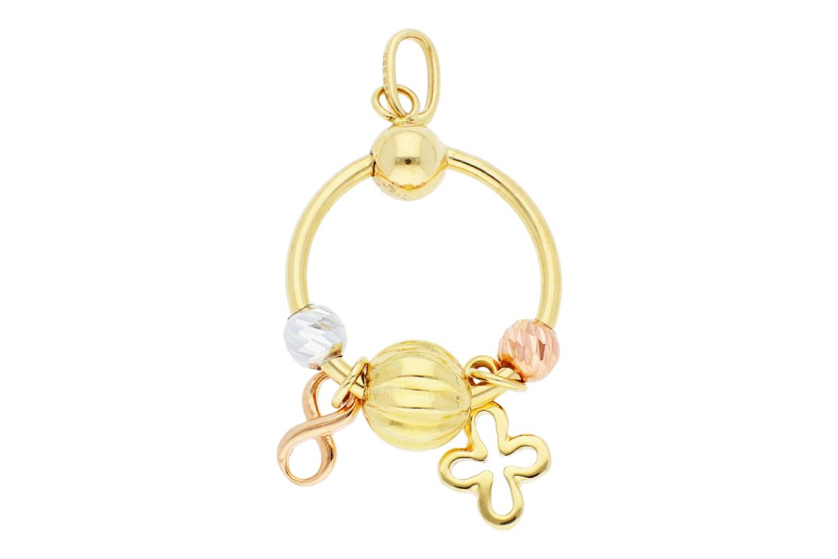 Bijuterii aur online - Medalioane dama aur 14K galben, alb si roz infinit si cruce bilute
