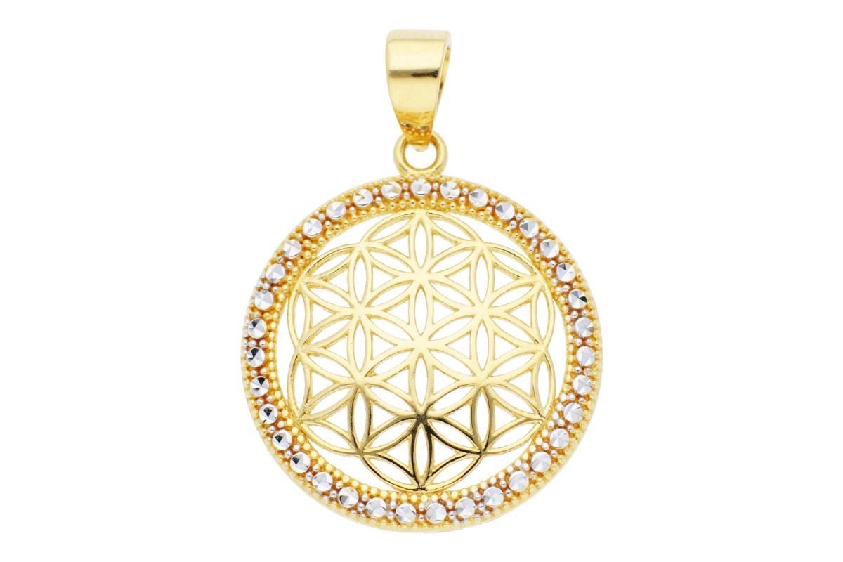 Bijuterii aur online - Medalioane dama din aur 14K galben si alb fatetat