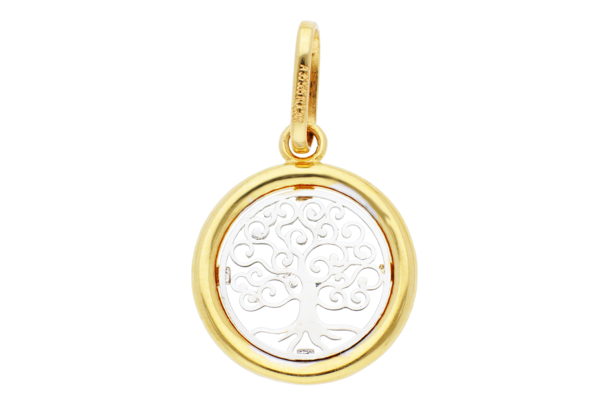 Bijuterii aur online - Medalioane pomul vietii aur 14K galben si alb