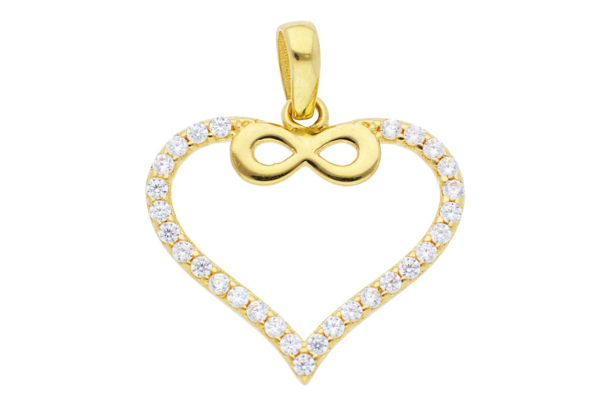 Bijuterii aur online - Pandant dama din aur 14K galben inima infinit