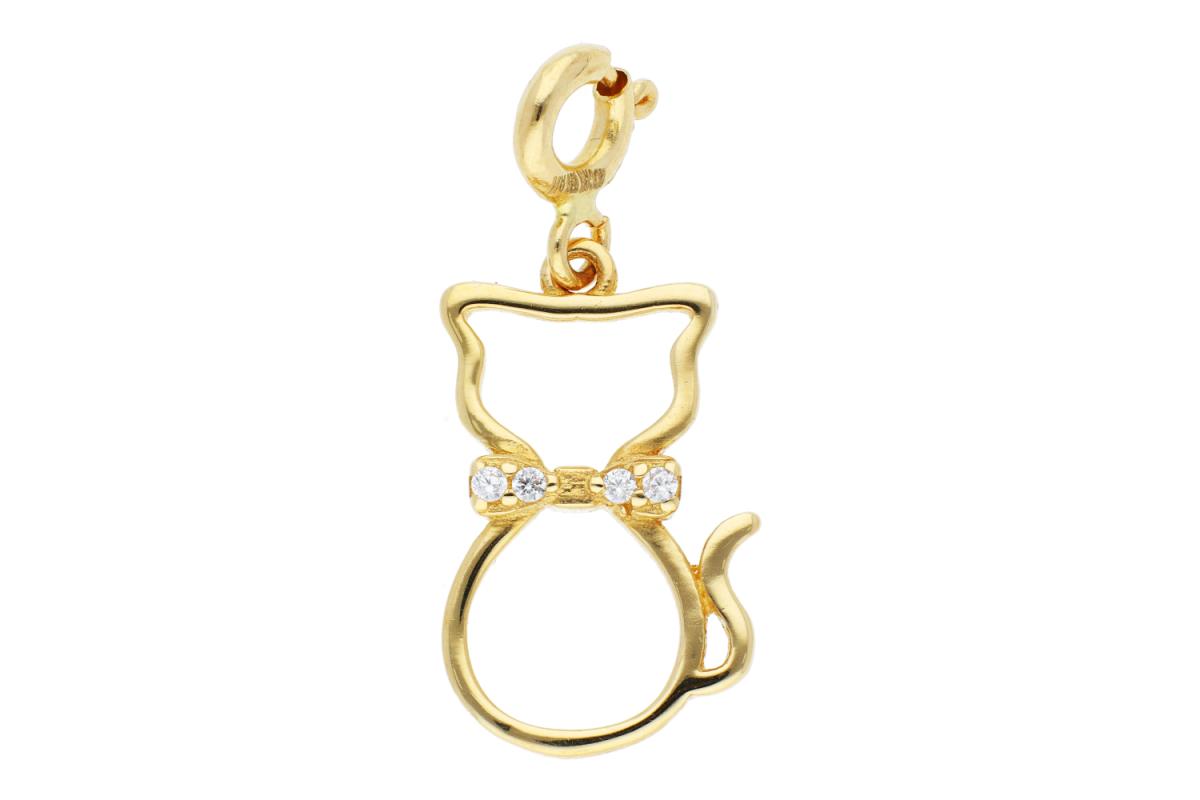 Bijuterii aur online - Pandantiv cu carabina pisica cu zirconii aur 14K