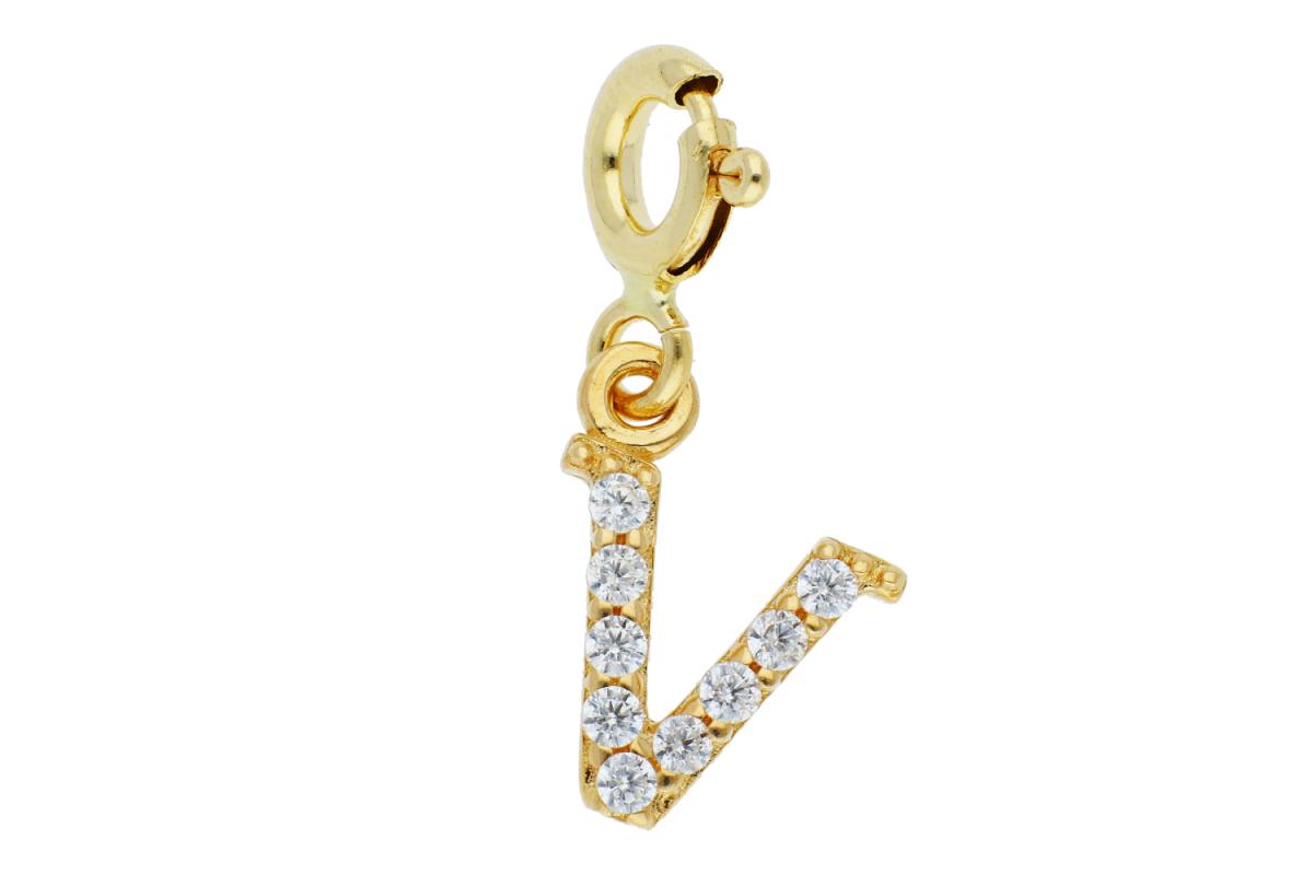 Bijuterii aur - Pandantive din aur 14K galben litera V cu carabina